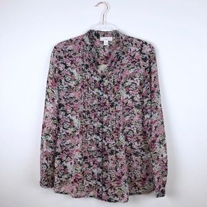 Appleseed's Floral Sheer Button Front Blouse Small